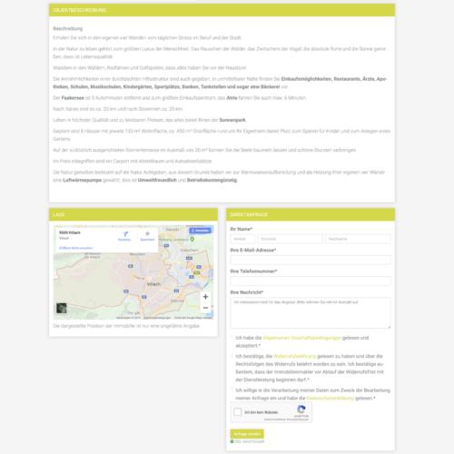 Darstellung inkl. Kontaktformular