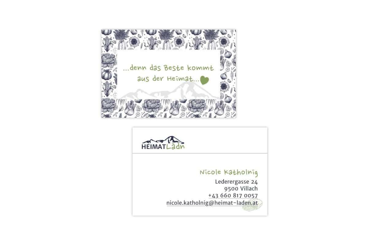 Visitenkarten für die Mitarbeiter des Heimatladen gedruckt auf Recyclingpapier