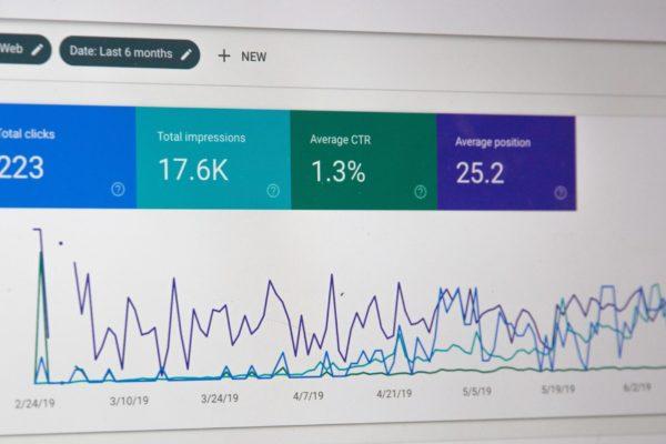 Monitor mit Google Analytics geöffnet
