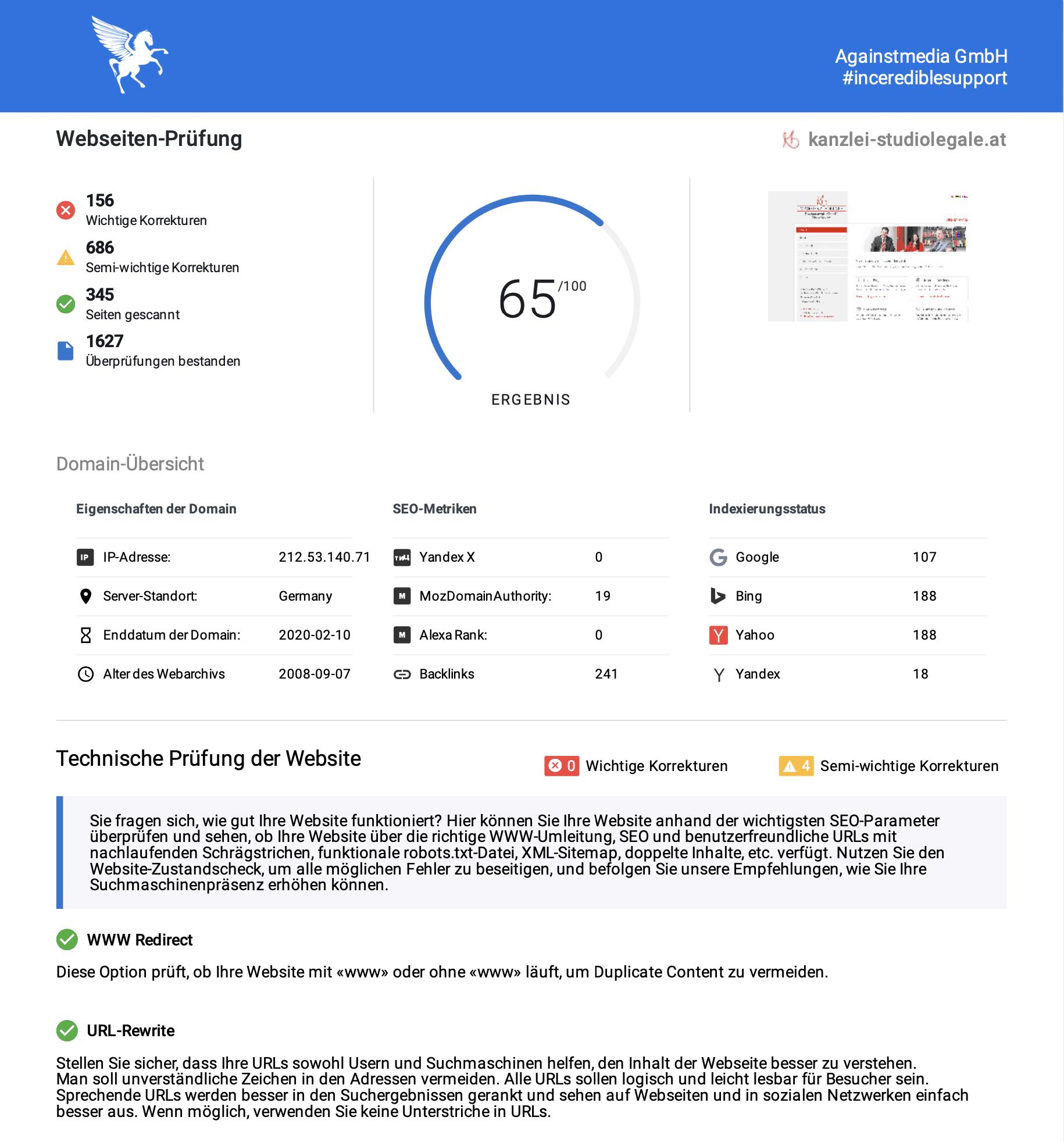 Abschnitt des technischen Website Audit für Kanzlei Studio Legale aus Klagenfurt