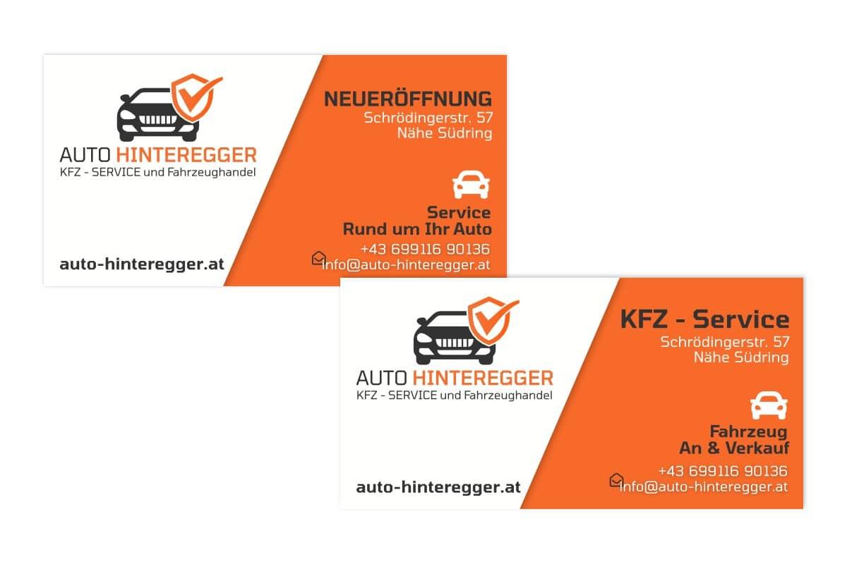 Bauplanen in orange weiß mit dem Logo von Auto Hinteregger