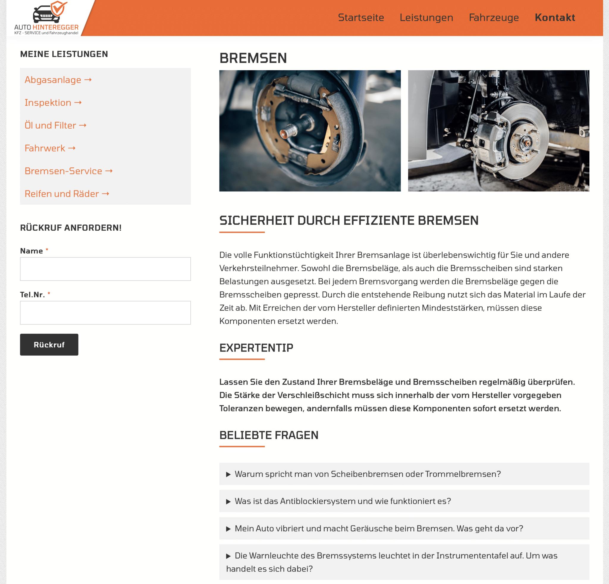 Ausschnitt der Website für Auto Hinteregger auf dem die Leistungen abgebildet sind