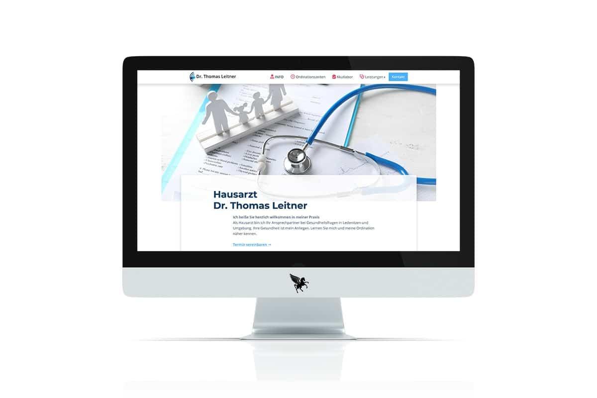 Screenshot der Homepage von Hausarzt Dr. Leitner