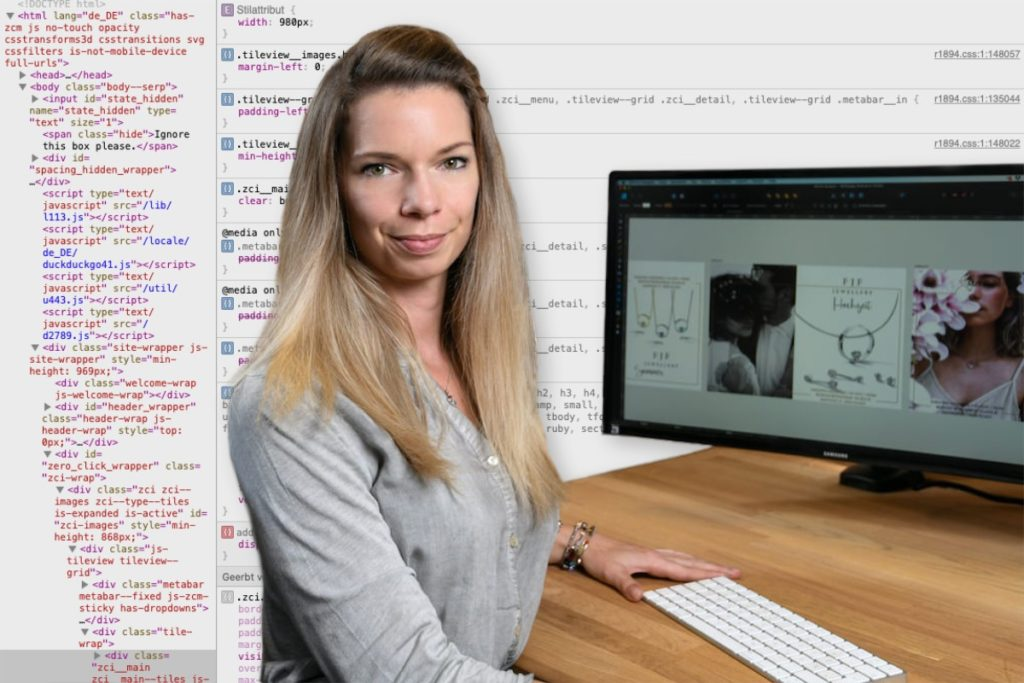 Isabel Karner beim Bearbeiten einer Website