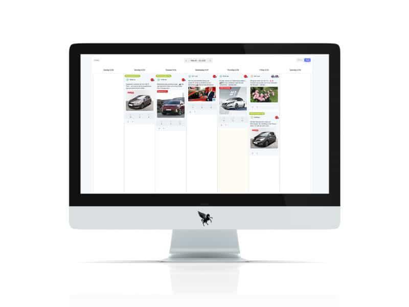 Social Media Kalender mit einzelnen Beiträgen für das Autohaus Sintschnig