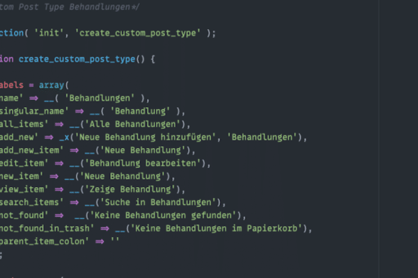 Custom Post Type für WordPress im Atom Editor