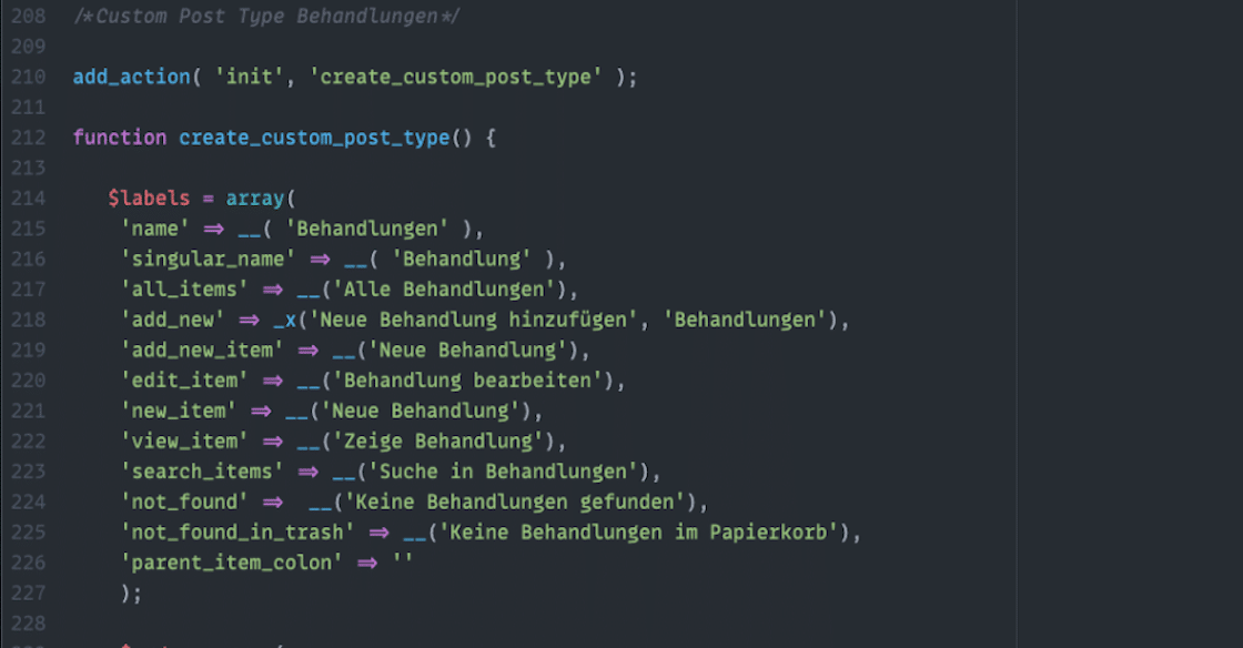 Custom Post Type für WordPress im Atom Editor