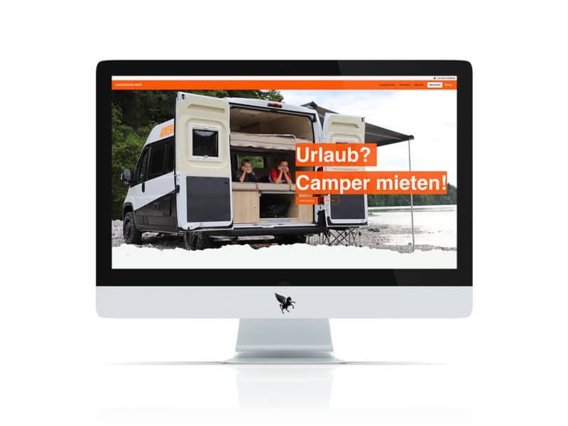 Screenshot der neuen Adventure Rent Website